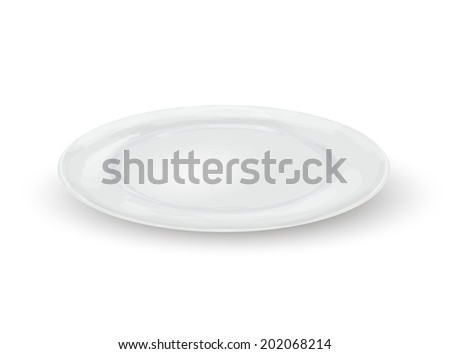 Empty white realistic dinner plate isolated on white background vector illustration