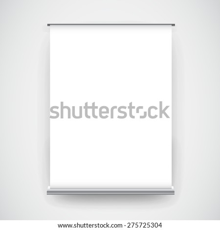 Empty white roll up banner display on wall background - stock vector