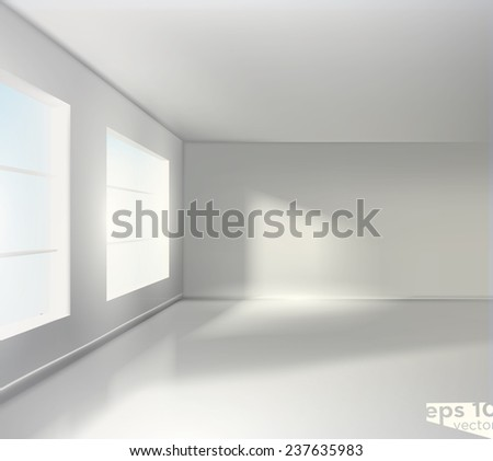 Empty white room. Realistic vector graphic
