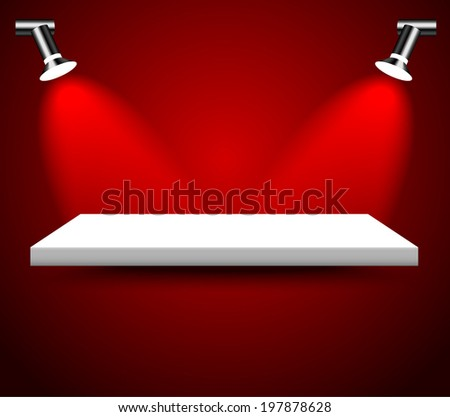 Empty white shelf in red room, illuminated by searchlights.  - stock vector
