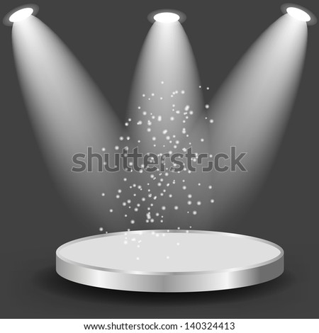 Empty white shelves on black  background. Vector  illustration