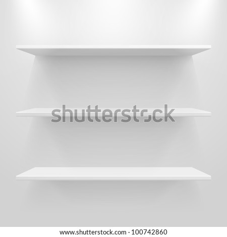 Empty white shelves on light grey background. Vector eps10 illustration - stock vector