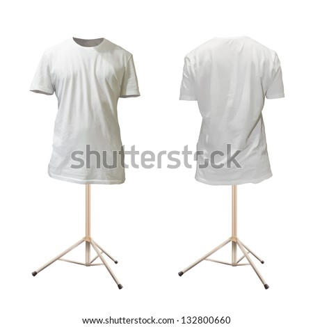 Empty white shirt design. Realistic vector illustration. - stock vector