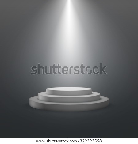 empty white stage podium. vector illustration. advertising porter template