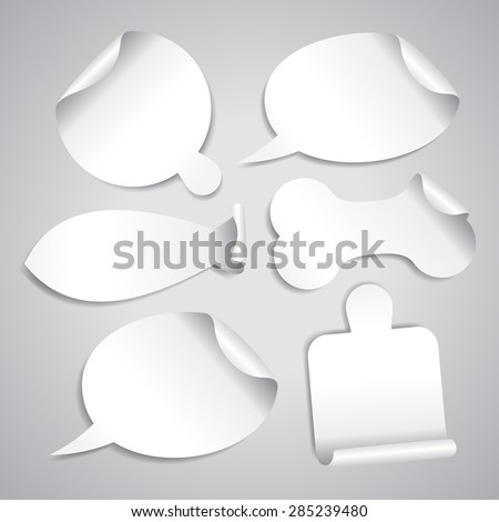 Empty white stickers set with board for pizza, cutting board, bone for pet, fish silhouette and speech bubbles - stock vector