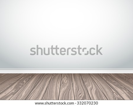 Empty white wall and parquet. Interior empty room. Vector illustration EPS 10. - stock vector