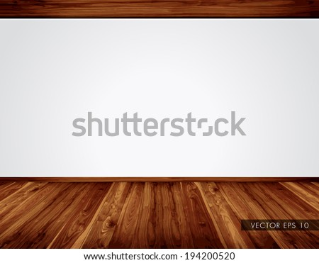 Empty white wall with massive timber ceiling construction and wooden floor - vector - stock vector