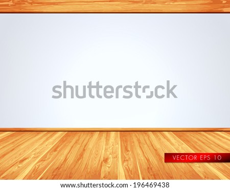 Empty white wall with natural light massive timber ceiling construction and wooden floor - stock vector