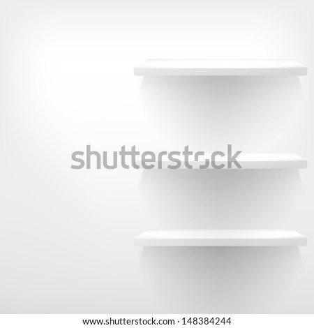 Empty white wooden shelf at the wall with copy space. EPS 10 - stock vector