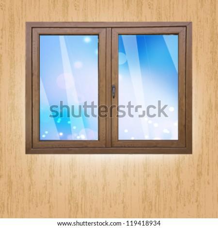 empty window with sky background. vector design - stock vector