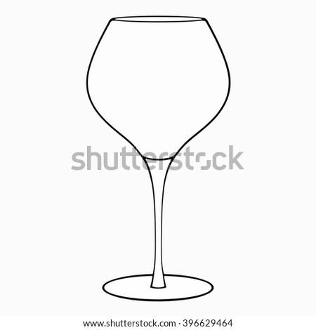 Empty wine glass icon, outline vector - stock vector