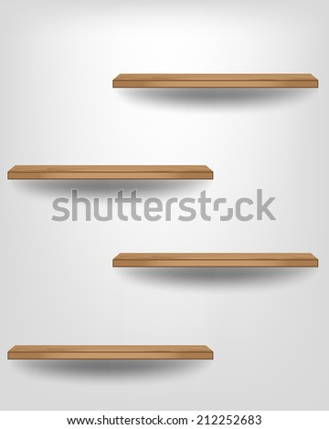 Empty wood shelf modern design on white background, Vector illustration