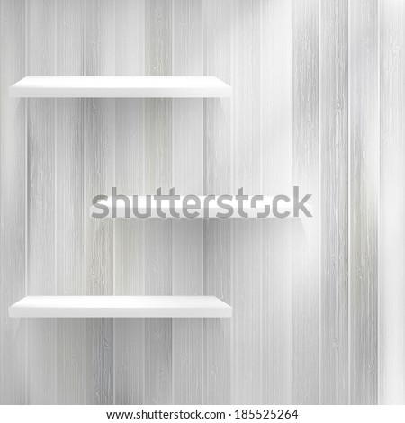 Empty wood shelf on old wall. + EPS10 vector file - stock vector