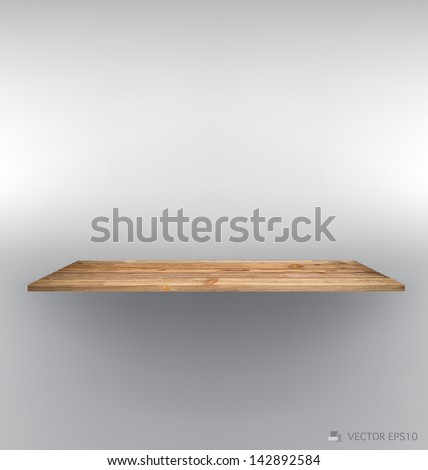 Empty wood shelf on wall. Vector illustration. - stock vector