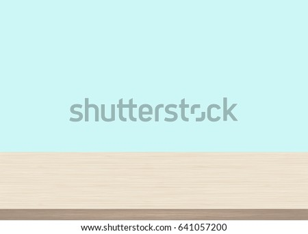 Charmant Empty Wood Table Top On Blue Background. Wooden Background, Vector  Illustration