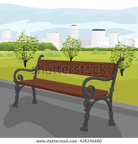 Empty wooden bench in city park in summer - stock vector