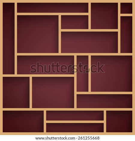 Empty wooden modern shelves with shadow on the dark wall. Vector illustration