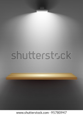 Empty wooden shelf on the wall, illuminated by searchlights. Part of set. Vector interior. - stock vector