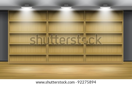 Empty wooden shelves, illuminated by searchlights. Part of set. Vector interior. - stock vector