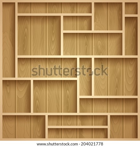 Empty wooden shelves, photo realistic vector background - stock vector