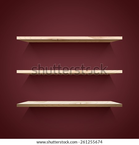 Empty wooden  shelves with shadow on the dark wall. Vector illustration