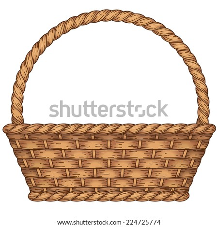 Empty woven basket isolated on white background - stock vector