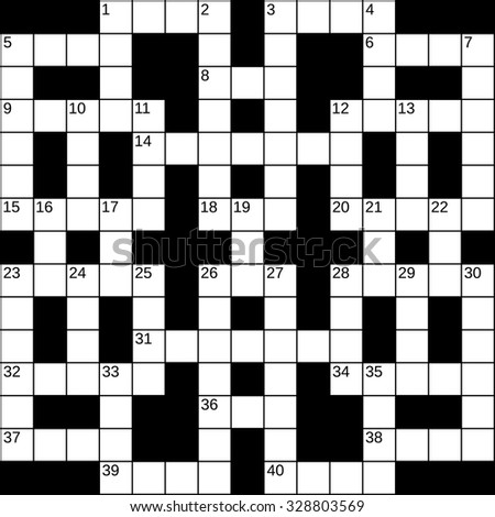 Empty 15x15 Squares British Style Crossword Grid For 40 Words With Numbers White Cells