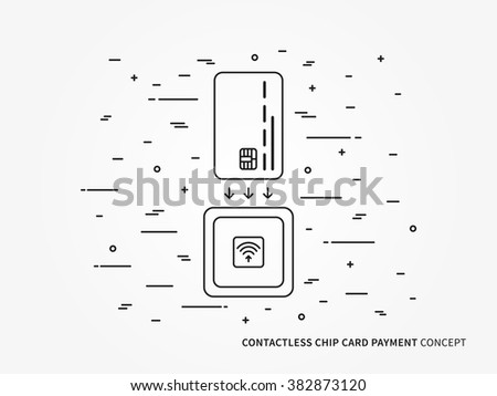 EMV chip card square contactless reader vector linear illustration. Secure transaction emv (chip) card creative concept. Emv (chip) card wireless payment (money transfer) technology graphic design. - stock vector