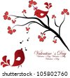 Enamored birdies on a branch with hearts - stock vector