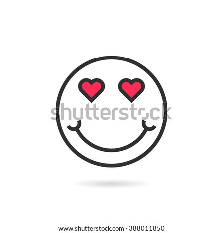 enamored thin line emoji icon with shadow. concept of happy valentine day, lovely, sense, joy, humor, amorous, desire. flat style trend modern logotype design vector illustration on white background - stock vector