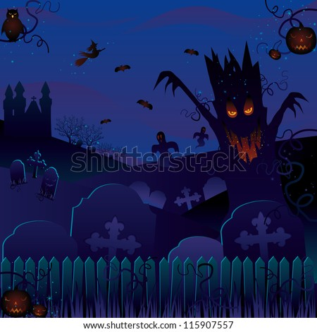 Enchanted forest on Halloween night.