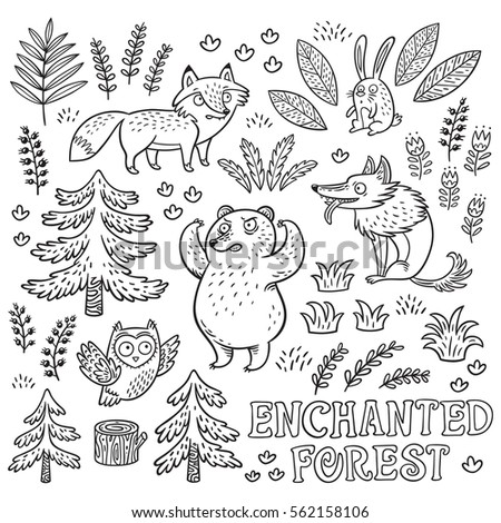 Enchanted Forest Vector Black And White Hand Drawn Illustration With Crazy Animals Ink