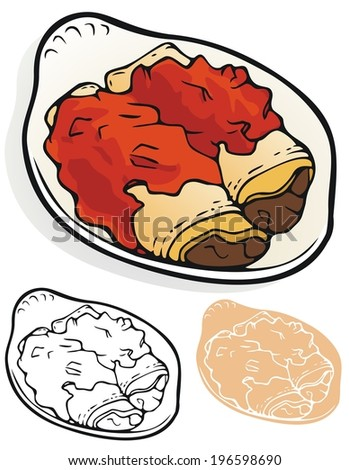 Enchilada plate, with variations - stock vector