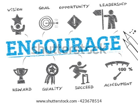 Encourage. Chart with keywords and icons - stock vector