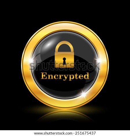 Encrypted icon. Internet button on black background. EPS10 vector