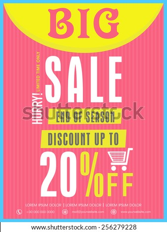 End of season big sale flyer, banner or template with discount offer for your business. - stock vector
