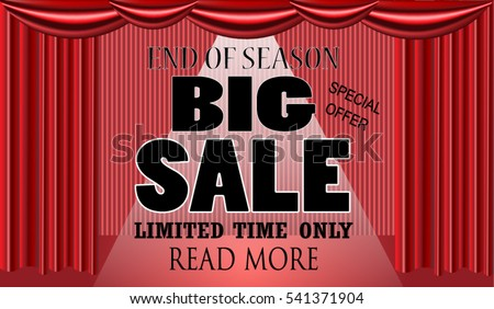 End Of Season Big Sale Stage Theater Podium With Red Curtains. Efect Of The  Light