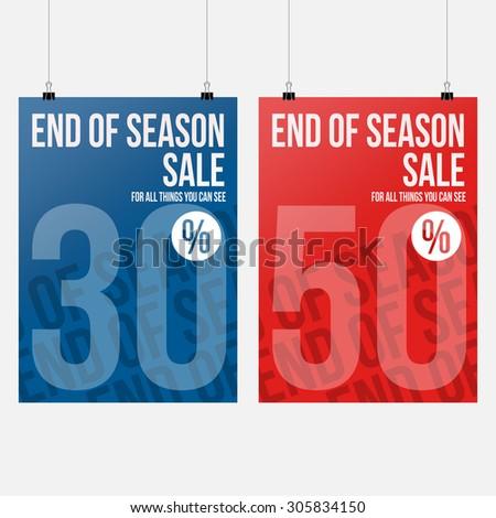 End of Season Sale - Banner Design - stock vector