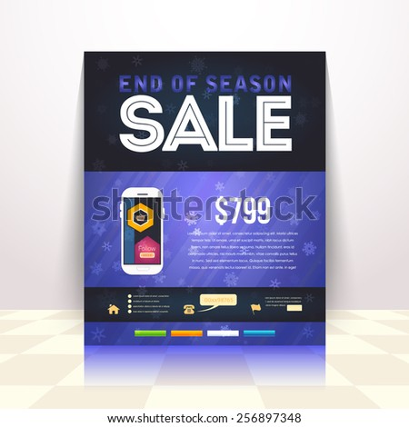 End of Season Sale Poster, Flyer, Advertising Template, Winter Flat Design - stock vector