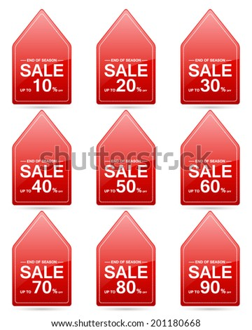 end of season sale up to 10,20,30,40,50,60,70,80,90 percent on triangle red label set (vector)