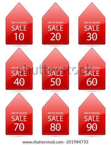 end of season sale up to 10,20,30,40,50,60,70,80,90 percent on triangle tag red label set (vector)