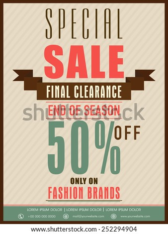 End of season special sale flyer, banner or poster design with discount offer only fashion brands. - stock vector