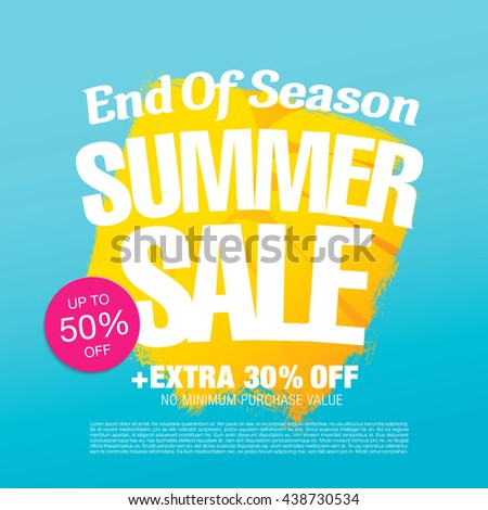 End of Season. Summer sale. Vector template banner