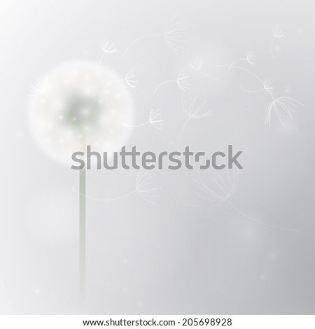 End of summer / Card with Overblown dandelion - stock vector