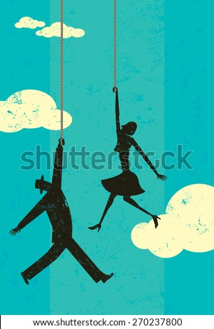 End of the rope A man and woman in the sky hanging on the end of their ropes.  - stock vector