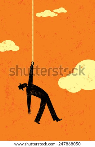 End of the rope A man in the sky hanging on to the end of his rope. The man and background are on separate labeled layers. - stock vector