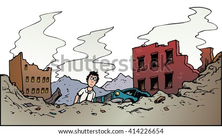 end of the world scenario After the Disaster - stock vector