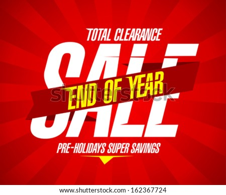 End of year final clearance design in retro style with ribbon. - stock vector