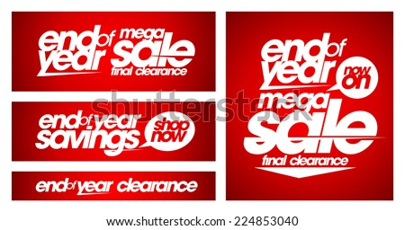 End of year mega sale banners set.  - stock vector