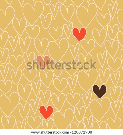 Endless abstract love pattern. Doodle cartoon backdrop with hand drawn hearts. Textile texture - stock vector